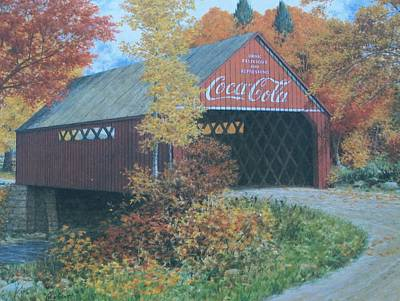 Vintage Bridge American Coca Cola Art Print by Jake Hartz