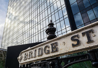 Photograph - Vintage Bridge Street Sign Against Modern Glass Building by Jacek Wojnarowski