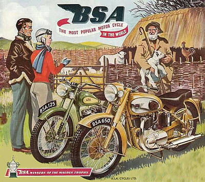 Digital Art - Vintage British Bsa Motorcycle Advert by Marlene Watson