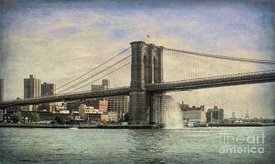 Photograph - Vintage Brooklyn Bridge by Luther Fine Art
