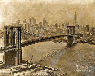 Photograph - Vintage Brooklyn Bridge To Manhattan by John Stephens