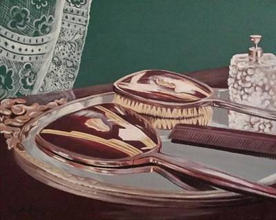 Drawing - Vintage Brush And Comb Set by Kathy Weidner