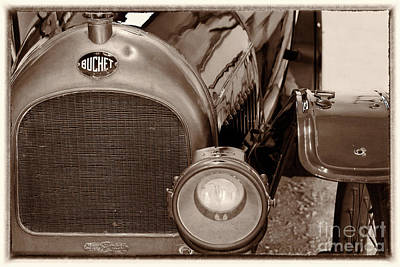 Photograph - Vintage Buchet Auto, Hood And Lamp, Framed, Sepia by Vyacheslav Isaev