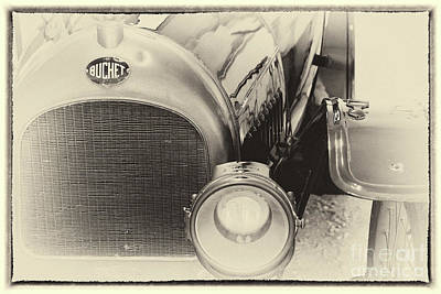 Photograph - Vintage Buchet Auto, Hood And Lamp, Framed by Vyacheslav Isaev