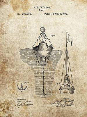 Drawing - Vintage Buoy Patent by Dan Sproul