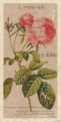 Vintage Burlap Floral 2 Art Print