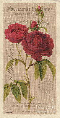 Red Rose Wall Art - Painting - Vintage Burlap Floral 3 by Debbie DeWitt