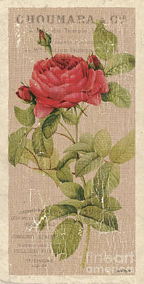 Red Rose Wall Art - Painting - Vintage Burlap Floral by Debbie DeWitt