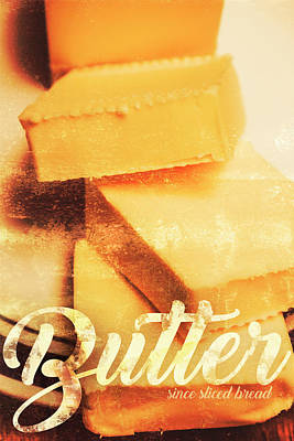 Words Background Photograph - Vintage Butter Advertising. Kitchen Art by Jorgo Photography - Wall Art Gallery
