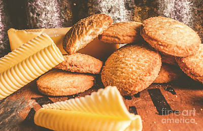 Oatmeal Photograph - Vintage Butter Shortbread Biscuits by Jorgo Photography - Wall Art Gallery
