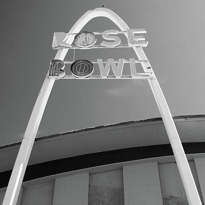 Photograph - Vintage Bw Rose Bowl Route 66 Tulsa - Square Format by Gregory Ballos