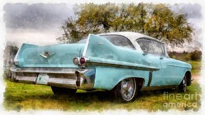 Transportation Royalty-Free and Rights-Managed Images - Vintage Cadillac Watercolor by Edward Fielding