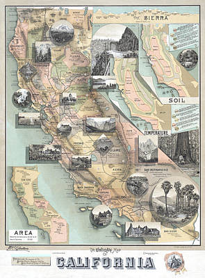 Digital Art - Vintage California Map by Lisa Redfern