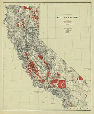 Drawing - Vintage California Map by Vintage Pix