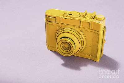 Photograph - Vintage Camera Standing On Pink Background. by Michal Bednarek