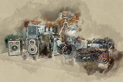 F-1 Digital Art - Vintage Cameras And Lenses by Ronel Broderick