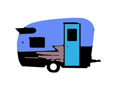 Painting - Vintage Camper Trailer Pop Art Blue by Edward Fielding