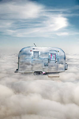 Vintage Camping Trailer In The Clouds Art Print