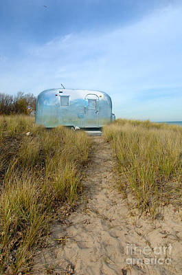 Flamingos Photograph - Vintage Camping Trailer Near The Sea by Jill Battaglia