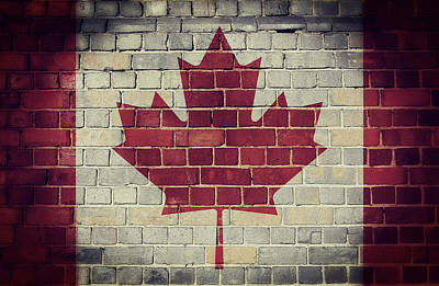 Digital Art - Vintage Canada Flag On A Brick Wall by Steve Ball