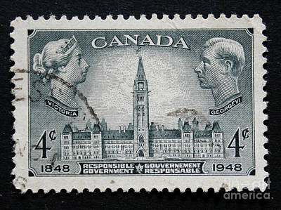 Photograph - Vintage Canadian Postage Stamp With Victoria And George by Patricia Hofmeester
