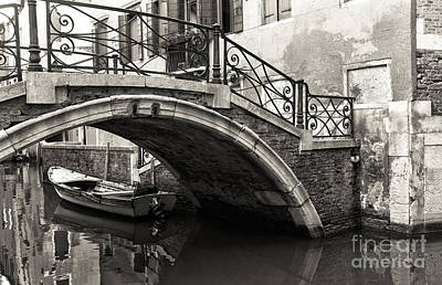 Photograph - Vintage Canal Bridge In Venice by John Rizzuto