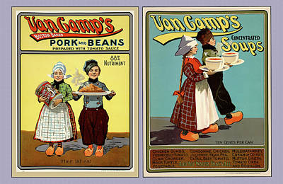 Photograph - Hans And Lena 1901 Vintage Canned Goods Posters by Phil Cardamone