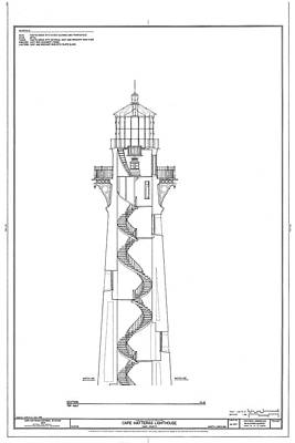 Vintage Cape Hatteras Lighthouse Blueprint 2 Art Print