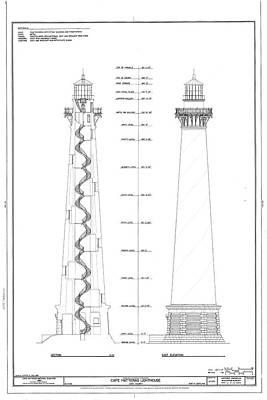 Vintage Cape Hatteras Lighthouse Blueprint Art Print
