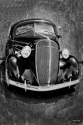 Mixed Media - Vintage Car Art Shuffle Bw by Lesa Fine