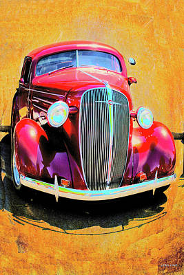Mixed Media - Vintage Car Art Shuffle Red  by Lesa Fine