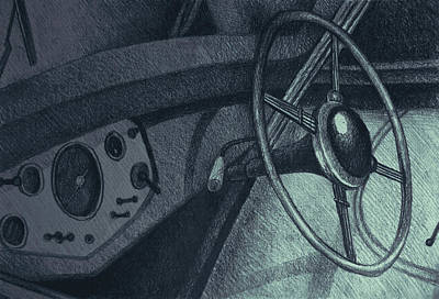 Vintage Car Dashboard Drawing. Illustration Art Print