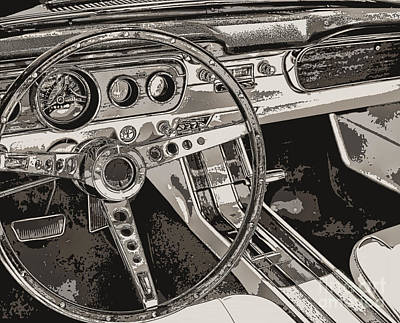 Sports Paintings - Vintage Car Dashboard by Mindy Sommers