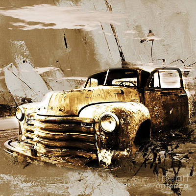 Acrylic Sports Portrait Painting - Vintage Car by Gull G