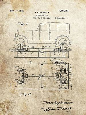 Antique Automobiles Mixed Media - Vintage Car Jack Patent  by Dan Sproul