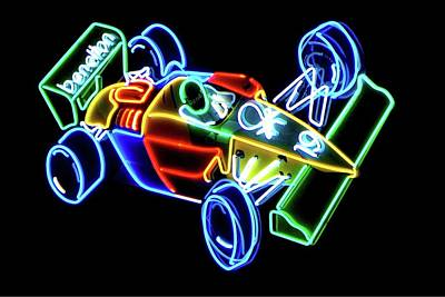 Benetton Wall Art - Photograph - Vintage Car Neon Art by Cheryl Kurman