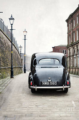 Vintage Car On A Cobbled Street Art Print by Lee Avison