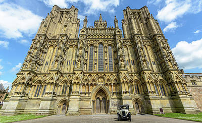 Art Print featuring the photograph Vintage Car Parked In Front Of Wells Cathedral by Jacek Wojnarowski