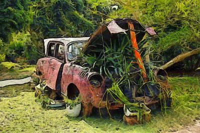 Photograph - Vintage Car Planter by Studio Artist