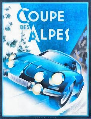 Sports Paintings - Vintage Car Race Poster Coupe Des Alpes by Edward Fielding