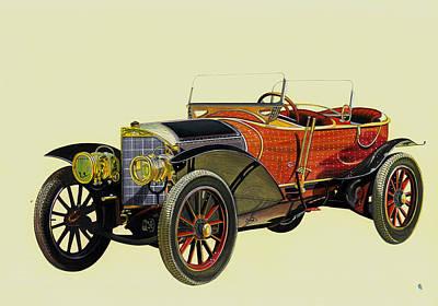 Antique Miniature Painting - Vintage Car Royal Mercedes Labourdette Skiff 1911 Miniature Artwork India by A K Mundra