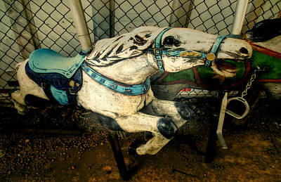 Photograph - Vintage Carousel Horses 011 by Tony Grider