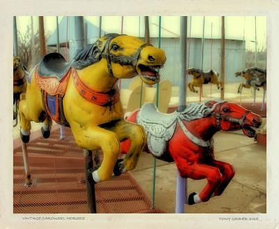Photograph - Vintage Carousel Horses Polaroid Transfer by Tony Grider