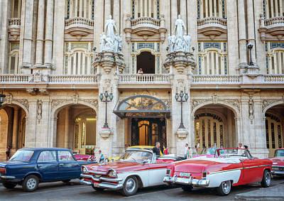 Vintage Cars And The Grand Theatre Havana Cuba Art Print