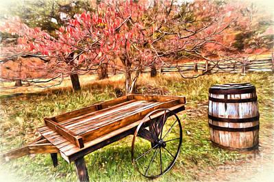 Barrel Painting - Vintage Cart And Rain Barrel In Autumn Ap by Dan Carmichael