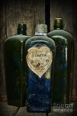 Tasting Photograph - Vintage Case Gin Bottles by Paul Ward