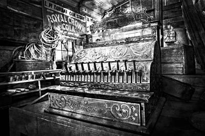 Photograph - Vintage Cash Register In Black And White by Debra and Dave Vanderlaan