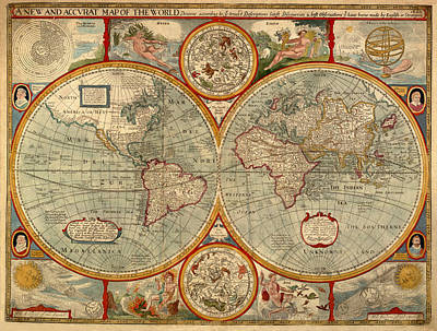 Photograph - Vintage Celestial Map 1626 by Andrew Fare