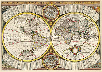 Photograph - Vintage Celestial Map 1641 by Andrew Fare