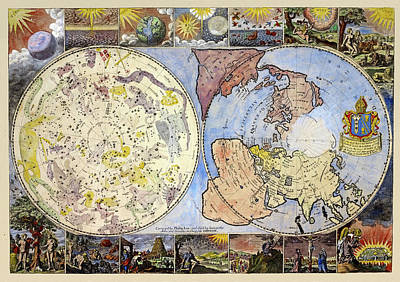 Photograph - Vintage Celestial Map 1699 by Andrew Fare